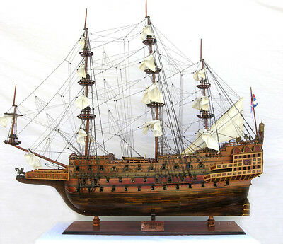"HMS Sovereign of The Seas 1637 Tall Ship 90""Long Monumental Wood Model Assembled"