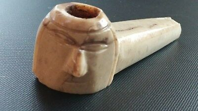 MOCHE 900 AD PRECOLUMBIAN ANCIENT PERU - ANCIENT CARVED STONE PIPE (1100 yr old)