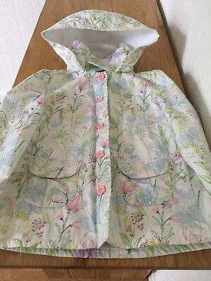 Girls Pretty Floral Fleece Lined Coat Age 4-5 Years Excellent Condition