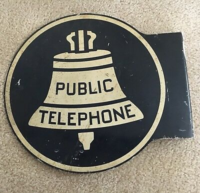 Vintage PUBLIC TELEPHONE Double Sided Metal Sign with flange KS-16597 L-1