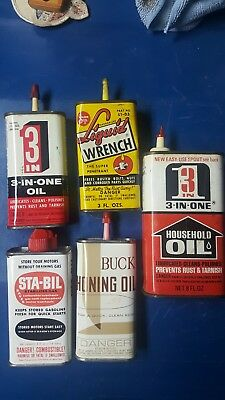 Vintage Household/handy Oil Can Lot Of 5 3 In 1, Liquid Wrench, Buck And Sta-Bil