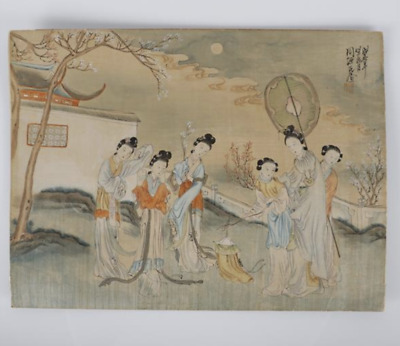 Yuanshi Zhou, (Chinese, Qing Dynasty), women figures in a landscape, watercolor