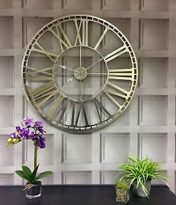 Large silver metal framed skeleton round wall mounted clock 80cm
