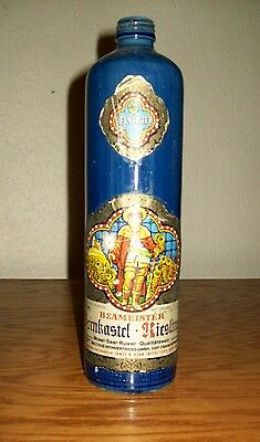 Blue Ceramic Stoneware Empty Bottle ~ Beameister Riesling Mosel ~ Germany
