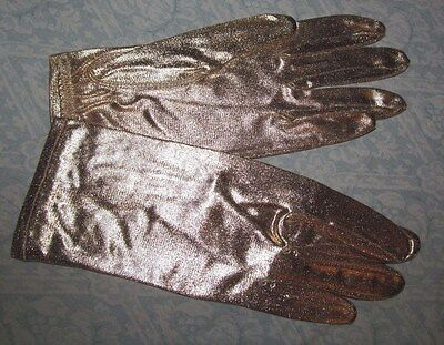 VINTAGE 1970 / 80s GOLD Glam stretchy gloves with elastic cuffs, MEYERS MAKE 6.5
