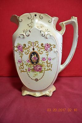 Antique Ornate Victorian Hanley  Ice Water Pitcher with Pewter Lid
