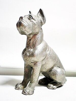 "Vintage 4"" Pewter Dog Figurine Boston / Boxer / Mastiff / Cane Corso Italy?"