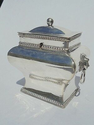 Antique Sheffield Plate Tea Caddy With Lion Head And Ring Handles To Side