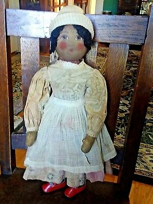 "Antique Vintage Black Americana Rag Doll Orig. Clothes Painted Face 21"" Nr"