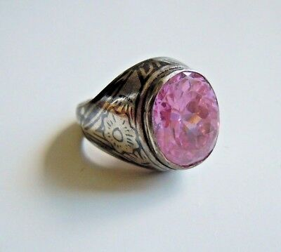 rare imperial Russian 84 Niello Silver Ring with stone Faberge design
