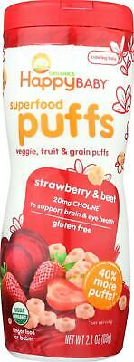 Happy Family-Organic Puffs - Strawberry, Pack of 6 ( 2.1 oz containers )