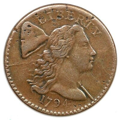 1794 S-56 R-3 Office Boy Rev Liberty Cap Large Cent Coin 1c