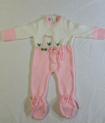 A LITTLE ANGEL VTG Infant One Piece Knitted Acrylic Swans Pink White 0-3 M