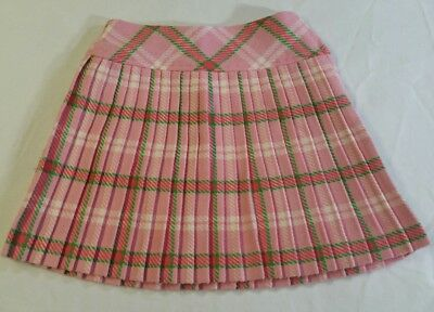 VTG SEARS Roebuck Girl's Pleated Schoolgirl Skirt Pink Plaid Size 10