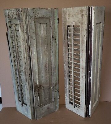Set of 2 Antique House Window Wood Shutters 26x15 Shabby Vtg