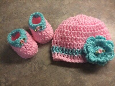 Crochet Baby Hat & 3 Inch Shoes Newborn - 3 Month Baby Girl Photo Prop Flower