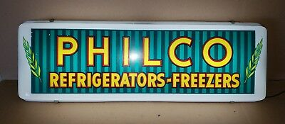 Vintage PHILCO REFRIGERATORS - FREEZER LIGHTED SIGN RARE SUBJECT MATTER! 27X9X3""