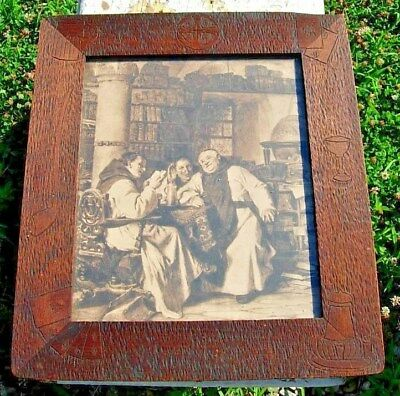 Arts & Crafts Monks Drinking Beer Print with Antique Carved Wood Frame