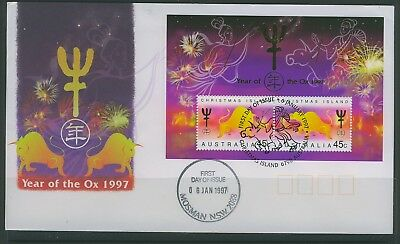 Christmas Islands 1997 Year of the Oxen  Mini Sheet First Day Cover  APM 27290