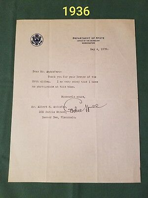 Cordell Hull Secretary of State Autograph Letter 1933-44(FDR)- Nobel Peace Prize