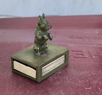 Metal Begging Boston Terrier Dog on Match Holder ~ tobacco smoking matchbox
