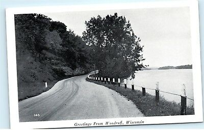 Old Country Road Greetings from Woodruff Wisconsin WI Vintage Postcard B16
