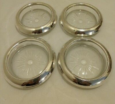 Vintage Sterling Silver Rim Crystal Coaster set of 4 by, Frank M. Whiting and Co