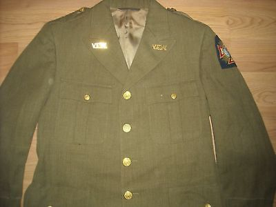 Vtg 40S Wwii Mens 36 Twill Vfw Wool Uniform Us Army Military Jacket