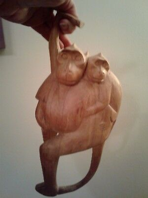 """Hand Carved Wooden Hanging Monkey Figurine Baby & Mom 11"""""""
