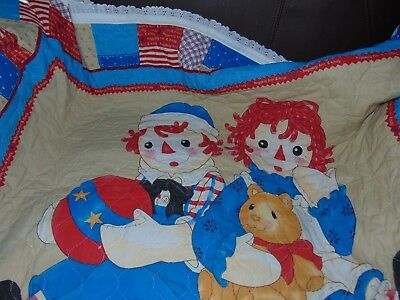 Raggedy Ann and Andy Blanket Throw Quilt Handmade 44 x 35