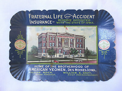 Antique Fraternal Life Insurance Tip Tray American Yeomen Des Moines Iowa