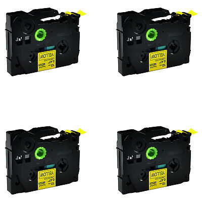 4PK Black on Yellow Label Tape For Brother TZ631 TZe-631 P-Touch PT-2730 12mm*8m