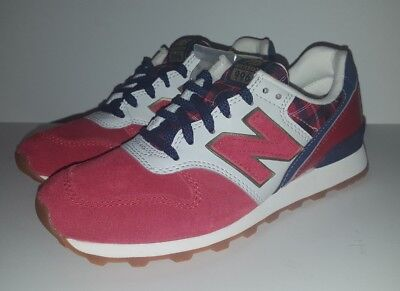super popular 2b305 cb50b NEW WOMENS NEW Balance 996 Shoes Red Suede Navy Plaid Wr996Cc Size 5.5 D