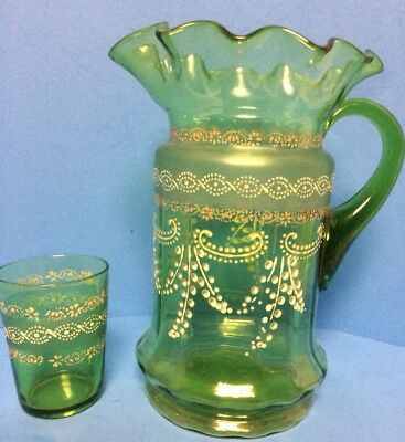 """Antique Vintage Bohemian Green Glass Water 10""""  Ruffled Pitcher & Glass VGC!!"""