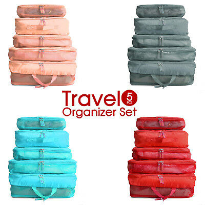 5pcs Travel Luggage Organizer Packing Pouch Suitcase Storage Bags Free Tag