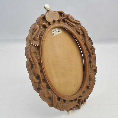 Vintage Chinese carved sandalwood photograph frame, dragons, hinged support