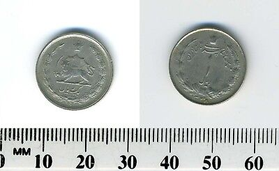Iran 1959 (1338) - 1 Rial Copper-Nickel Coin - Radiant lion holding sword