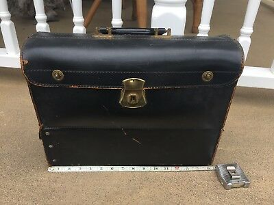Antique Cowhide Leather Doctors Travel Case With 3 Slide Out Drawers