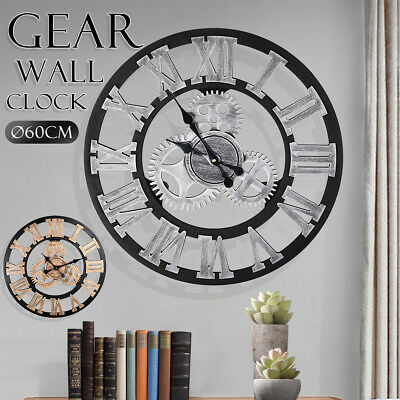 Large Outdoor Garden Wall Clock Roman Numeral Giant Gear Wooden Vintage 60cm
