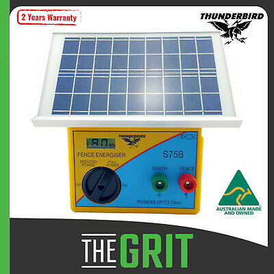 Thunderbird Solar Electric Fence Energiser 10km S75B Self Contained Unit