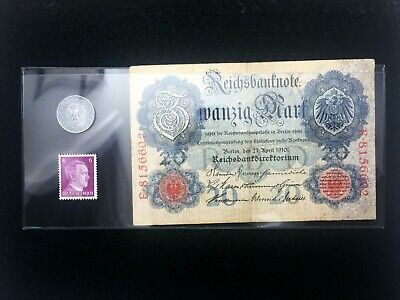 WW2 Rare10 RP German Coin & Stamp & 20 Mark Bill in Holder -Historical Artifacts