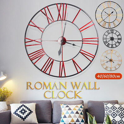 Large Wall Clock Roman Numerals Outdoor Garden Metal Giant Round Face 40/60/80cm