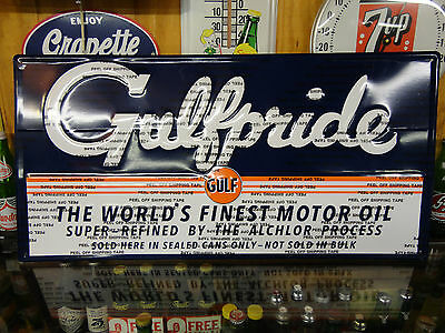 Gulf Gulfpride Motor Oil Embossed Modern  Sign Embossed Licensed By Gulf Usa