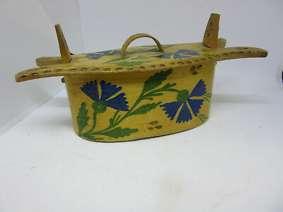 1910 Sweden Bentwood Tina Box Painted Blue Flowers Dated 1910