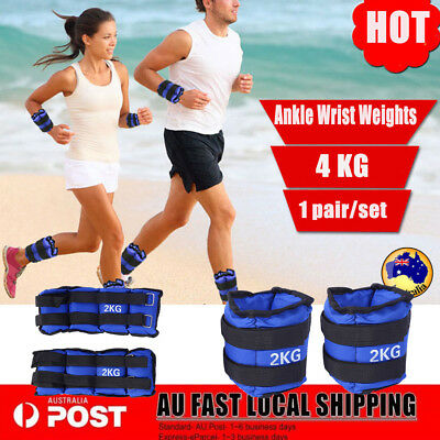 2pcs 2KG Blue Adjustable Ankle Wrist Weight Fitness Gym Exercise Equipment AU