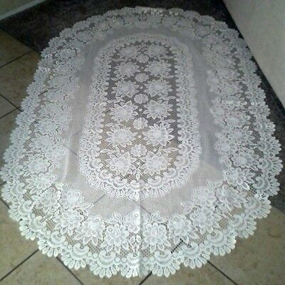 Floral Lace-White-Oval-Table Cloth-7ft. x 5ft.-Vintage-Large