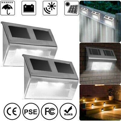 8pcs Solar Fence Lights LED Wall Waterproof Outdoor Garden Patio Security Lamps