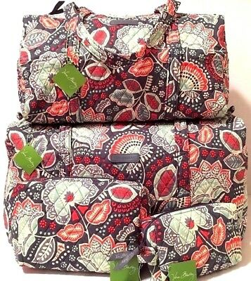ba6a289854 Vera Bradley NOMADIC FLORAL SMALL   LARGE DUFFEL and COSMETIC SET Bag Travel  NWT