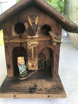Antique Weatherman Weather Forcaster, Wood Witches Cabin, Celluoid Witch & Kids