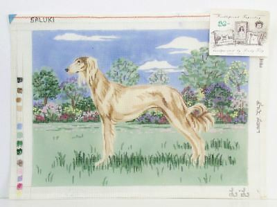 RARE Hand Painted SALUKI Dog Needlepoint CANVAS Signed Lindy Tilp